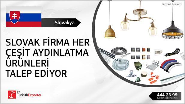 Slovak firma her çeşit aydınlatma ürünleri talep ediyor